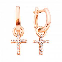 Серьги-подвески Croix из красного золота с бриллиантами 000103204