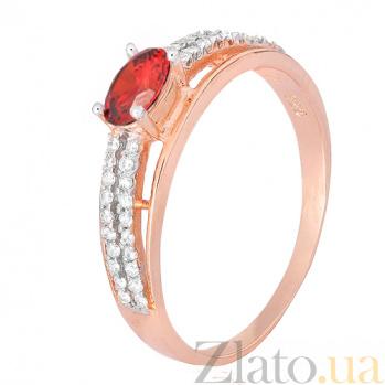 Серебряное кольцо Шеннон с красным фианитом 000028420