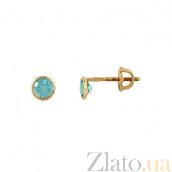 Золотые серьги с топазами Лаки 1С191-0051