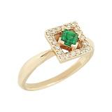 Золотое кольцо с изумрудом и бриллиантами Лана