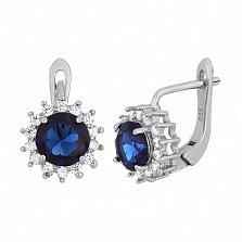 Серебряные сережки с синим цирконием Джаухар