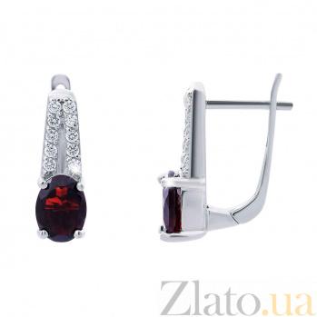 Серебряные серьги с гранатом Эвита AQA--E01287G