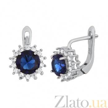 Серебряные сережки с синим цирконием Джаухар SLX--СК2ФС/475