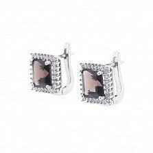 Серебряные серьги Леонарда с раухтопазом и фианитами