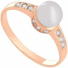 Золотое кольцо с жемчугом и фианитами Океания