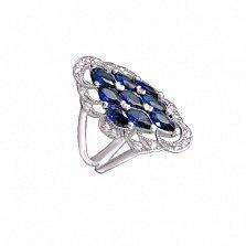 Серебряное кольцо Форсайт с узорной шинкой, белыми и синими фианитами