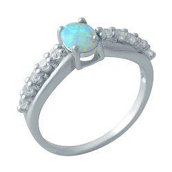 Серебряное кольцо с опалом и цирконием 000128388