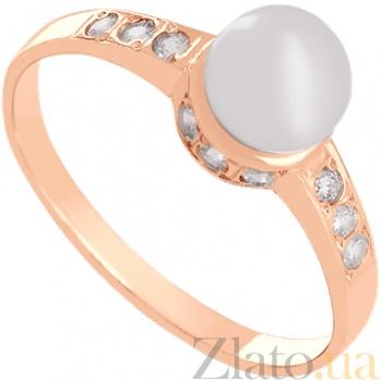 Золотое кольцо с жемчугом и фианитами Океания 000024338