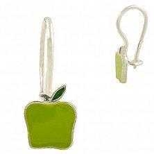 Серьги из серебра Яблочки с зеленой эмалью