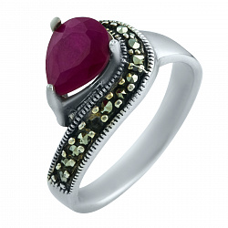 Серебряное кольцо Абелия с рубином и марказитом