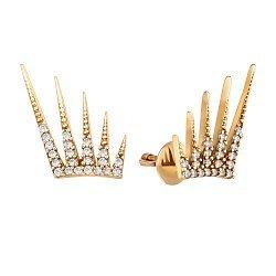 Серьги-пуссеты из желтого золота в форме короны с фианитами 000121356