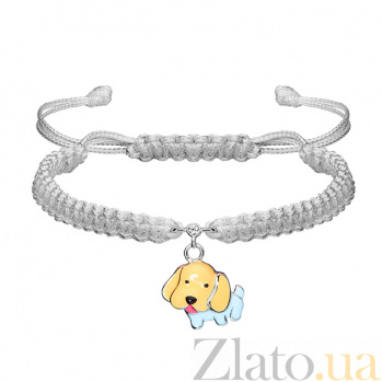 Детский плетеный браслет Собачка с эмалью и фианитом,13-12 см 000080613