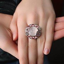 Серебряное кольцо Марион с розовым кварцем, гранатами и эмалью