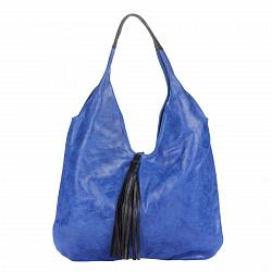 Кожаная сумка на каждый день Genuine Leather 7744 синего цвета с черной декоративной кисточкой