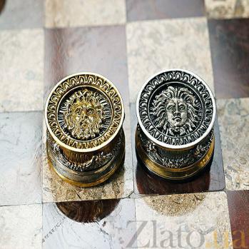 Серебряные шашки с позолотой Боги против Титанов 786