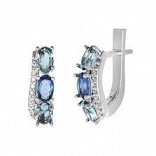 Серебряные серьги Таиса с кварцем под голубой и лондон топазы и фианитами