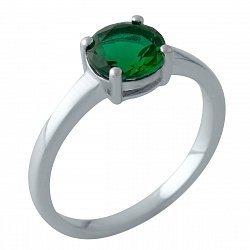 Серебряное кольцо с синтезированным изумрудом 000128757