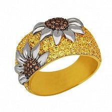 Кольцо из комбинированного золота Подсолнухи с фианитами