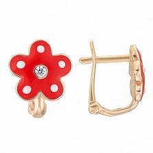 Детские золотые серьги с красной эмалью Цветок