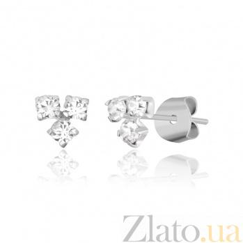 Серебряные сережки-пуссеты Блистательное трио SLX--С1СТ/614
