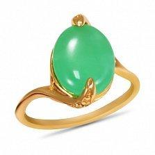 Золотое кольцо Хетевей в красном цвете с узорным кастом и хризолитом