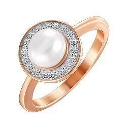 Серебряное кольцо с позолотой, жемчугом и фианитами 000052270