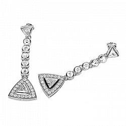 Серьги-подвески в белом золоте Аннет с бриллиантами