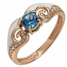 Золотое кольцо Синтия с топазом, фианитами и эмалью