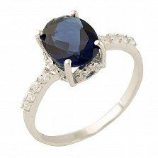 Серебряное кольцо Маддалена с синтезированным сапфиром и фианитами