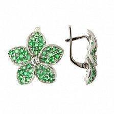 Серебряные серьги с цирконием и зелёным гранатом Плюмерия