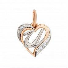 Золотой кулон-сердце Буква И в комбинированном цвете с фианитами