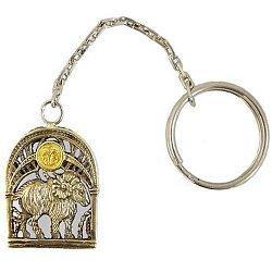 Серебряный брелок Знак зодиака Овен с позолотой