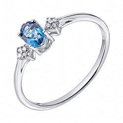 Серебряное кольцо с голубым топазом и фианитами 000134856