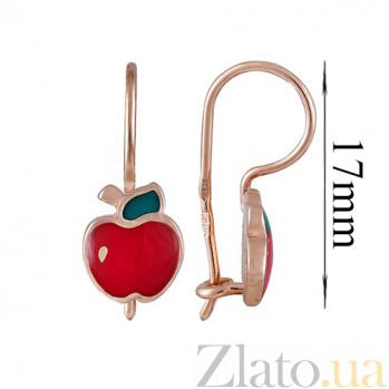 Золотые серьги с цветной эмалью Яблочки SVA--2101352101/Без вставки