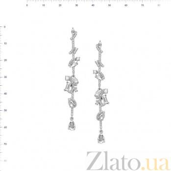 Серьги-подвески из серебря Эсфирь с кристаллами циркония 000081792
