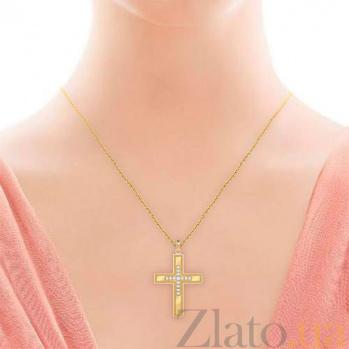 Крестик из желтого золота с бриллиантами Тайна: Верность 7004