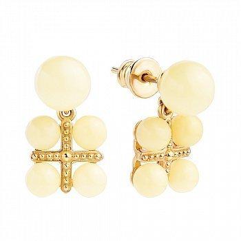 Позолоченные серебряные серьги-пуссеты с лимонным янтарем на крестообразной основе 000118939