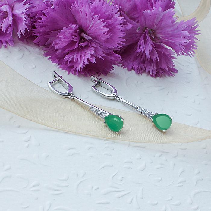 Серебряные серьги Элиза с зеленым агатом и и фианитами 000063527