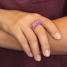 Серебряное кольцо Возвышение с розовыми фианитами