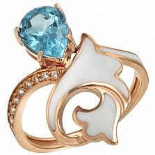 Золотое кольцо Лилия с топазом, фианитами и эмалью