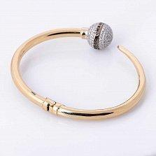 Золотой браслет Коко Шанель с фианитами