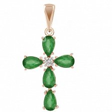 Золотой крестик Луиза с изумрудами и бриллиантом