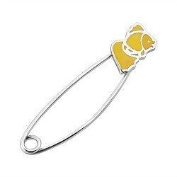 Серебряная булавка Золотая рыбка с желтой эмалью
