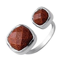 Серебряное кольцо с коньячным авантюрином 000074237