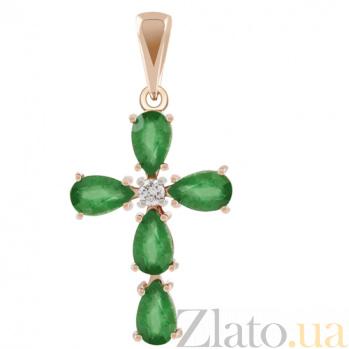 Золотой крестик с изумрудами и бриллиантом Сила веры KBL--П175/крас/изум