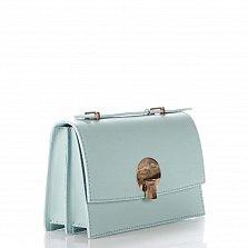 Кожаный клатч Genuine Leather 1520 нежно-голубого цвета с короткой ручкой и плечевым ремнем
