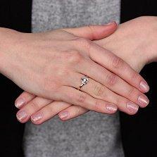 Золотое кольцо Верное сердце в красном цвете с бриллиантами