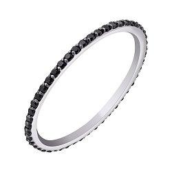 Кольцо в белом золоте с черными фианитами 000010215