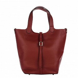 Кожаная сумка на каждый день Genuine Leather 8829 красного цвета с застежкой-ремешкой и косметичкой