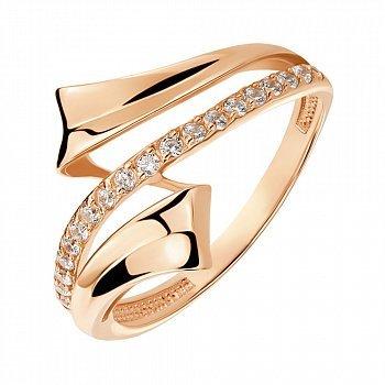 Кільце з червоного золота з фіанітами 000141409